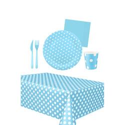 - 16 Kişilik Mavi Puantiyeli Kullan At Doğum Günü Seti 103 Parça