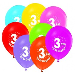 - 3 Yaş Renkli Baskılı Balon 8 'li