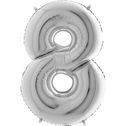 - 8 Rakam Gümüş Folyo Balon 75 Cm
