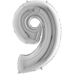 - 9 Rakam Gümüş Foylo Balon 75 Cm