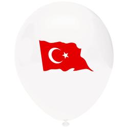 - Ay Yıldız Baskılı Beyaz Balon