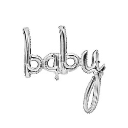- Baby El Yazısı Folyo Balon Gümüş