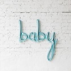 - Baby El Yazısı Folyo Balon Mavi