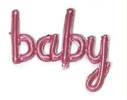 - Baby El Yazısı Folyo Balon Pembe