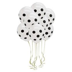 - Beyaz Üzeri Siyah Puantiyeli Balon 6 'lı