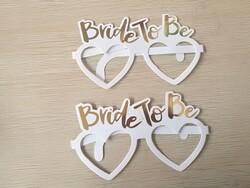- Bride To Be Gold Varak Baskılı Kalpli Karton Gözlük 10' Lu