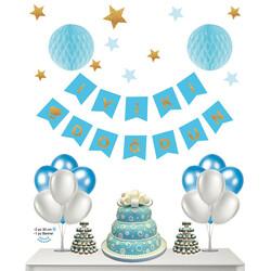 - Doğum Günü Banner + Petek Süs Set Mavi