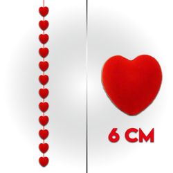 - Flok Kalp Sıralı 6 Cm 12 'li