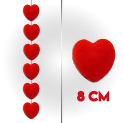 - Flok Kalp Sıralı 8 Cm 6 'lı