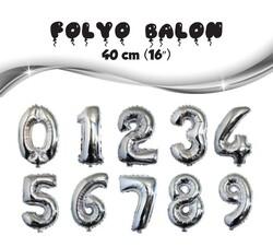 - Gümüş Rakam Folyo Balon 40 Cm