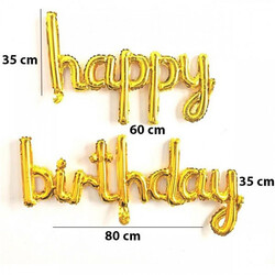 - Happy Birthday İtalik Yazılı Gold Set