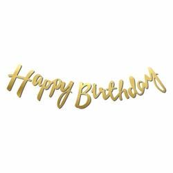 - Happy Birthday Dekoratif Banner Gold