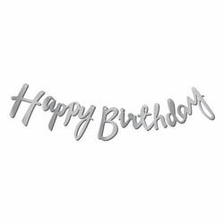 - Happy Birthday Dekoratif Banner Gümüş