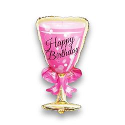 - Happy Birthday Pembe Kadeh Folyo Balon