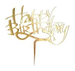 - Happy Birthday Pleksi Pasta Süsü Gold