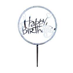- Happy Birthday Pleksi Yuvarlak Pasta Süsü Taşlı Gümüş
