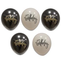 - Happy Birthday Siyah Beyaz Baskılı Balon 100 'lü