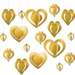 - Helezon Kalp Tavan Süsü Gold 3 Boyutlu 12 li