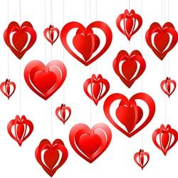 - Helezon Kalp Tavan Süsü Kırmızı 3 Boyutlu 12 li