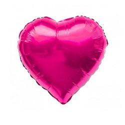 - Kalp Folyo Balon Fuşya 60 Cm (22'')