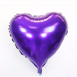 - Kalp Folyo Balon Mor 40 Cm (18'')