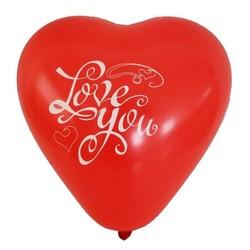 - Kalp Love You Baskılı Balon 100 'lü