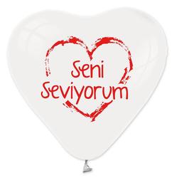 - Kalp Şekilli Beyaz Seni Seviyorum Baskılı Lateks Balon 100 'lü
