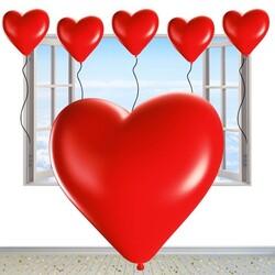 - Kalp Şekilli Kırmızı Lateks Balon 100 'lü