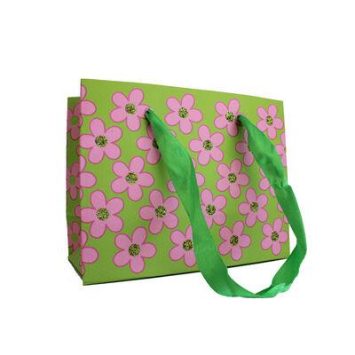Karton Çanta Mini İthal 11x14 Papatyalı Yeşil 12 'li