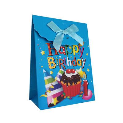 Karton Çanta Şekerlik Cırt Yapışkanlı Mavi 12 'li