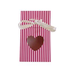 - Karton Çanta Şekerlik Kalp Pencereli Fuşya 12 'li