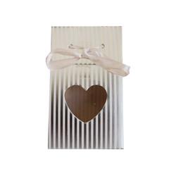 - Karton Çanta Şekerlik Kalp Pencereli Gümüş 12 'li
