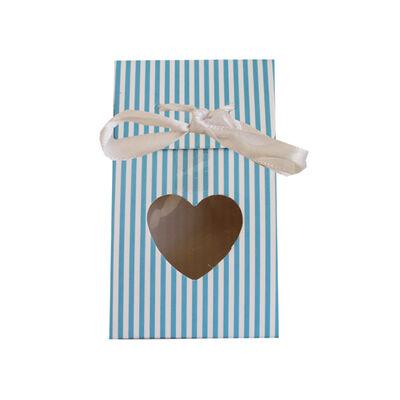 Karton Çanta Şekerlik Kalp Pencereli Mavi 12 'li