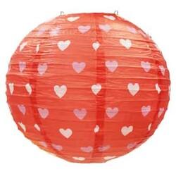 - Kırmızı Üzeri Kalp Baskılı Japon Feneri