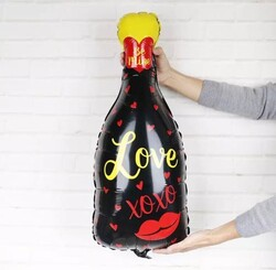 - Love Baskılı Siyah Şişe Folyo Balon