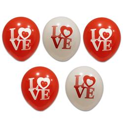 - Love Kırmızı Beyaz Baskılı Balon 100 'lü