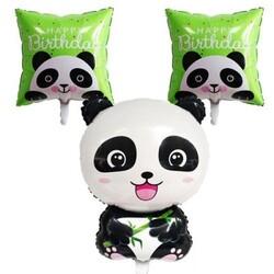 - Panda Folyo Balon Happy Birthday 3'lü Set