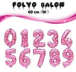 - Pembe Rakam Folyo Balon 40 Cm