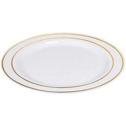 - Plastik Porselen Görünümlü Beyaz Tabak Varaklı 6'Lı