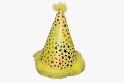 - Ponponlu Eva Şapka Yıldız Baskılı Sarı