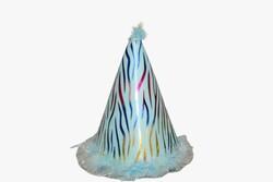 - Ponponlu Eva Şapka Zebra Baskılı Mavi