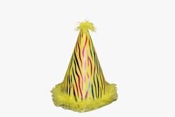 - Ponponlu Eva Şapka Zebra Baskılı Sarı