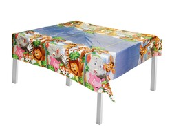 - Safari Temalı Plastik Masa Örtüsü