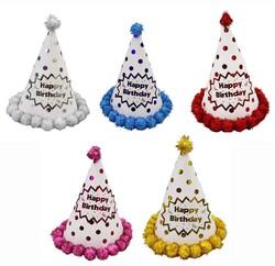 - Ponponlu Şapka Puanlı Happy Birthday Baskılı