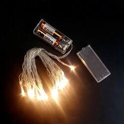 - Şeffaf Kablolu 3 Metre Gün Işığı Sarı Renk Pilli Led Işık