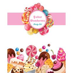 - Şeker Dondurma Parti Banner 3 Metre