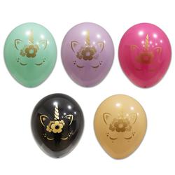 - Unicorn Eyelashes Karışık Renkli Baskılı Balon 8 'li