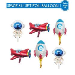 - Uzay Folyo Balon Set 6 'lı