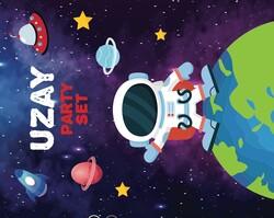Uzay Party Banner 3 Metre - Thumbnail