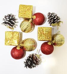 - Yılbaşı Çam Ağacı Süsü Kırmızı-Gold Kozalaklı 5 cm 12 li Ev Model